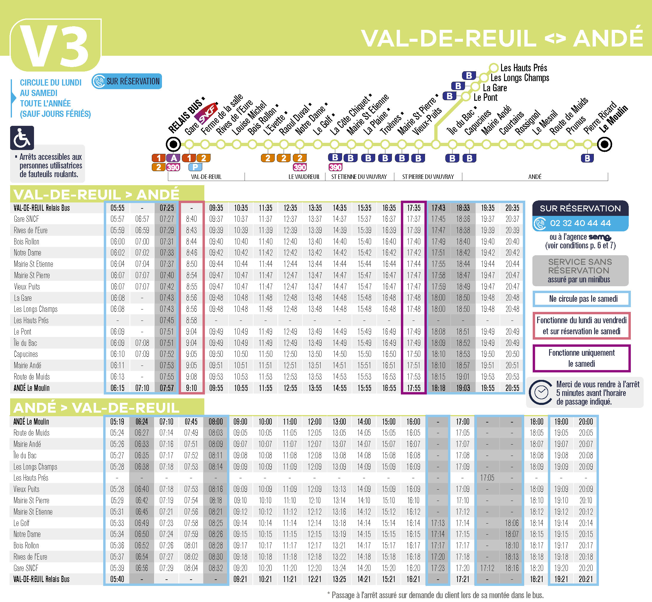 horaires Ligne V3