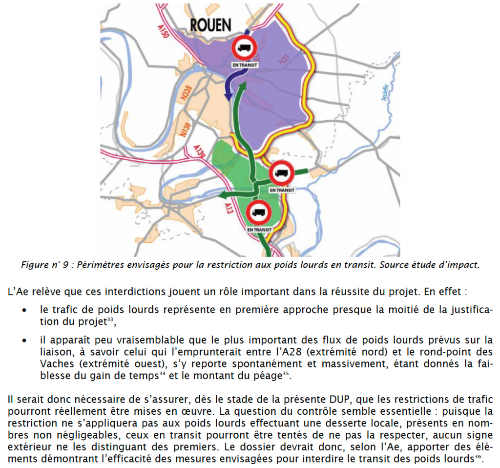 interdictions de transit PL selon l'Autorité environnementale