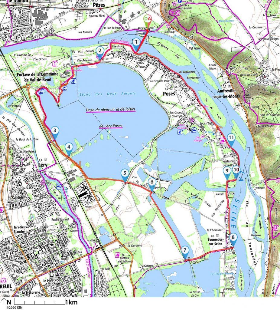 Une randonnée autour des 3 lacs de Poses et la Seine
