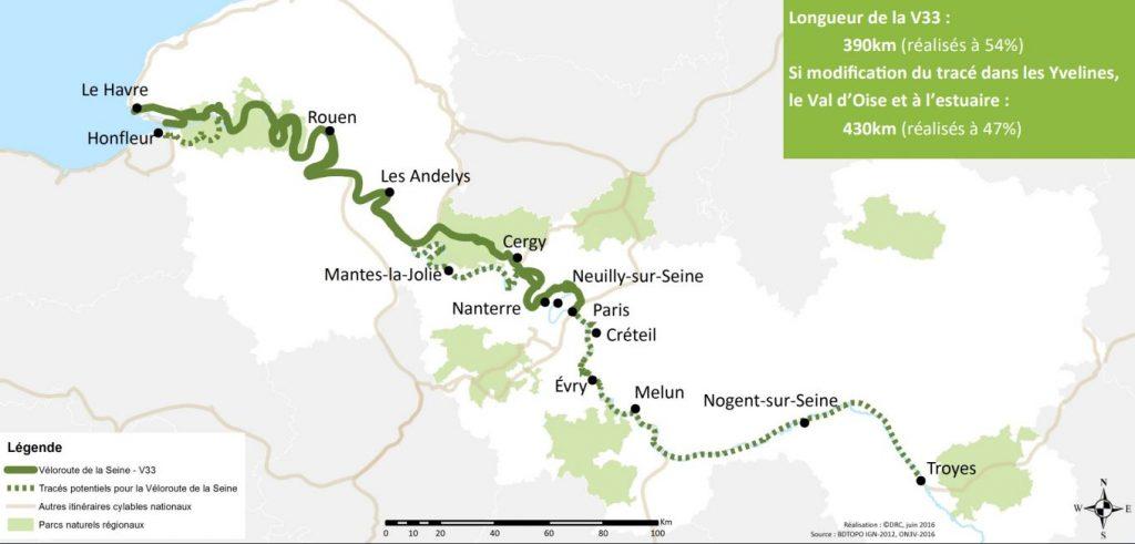 Itinéraire de la Seine à vélo de Paris à Honfleur